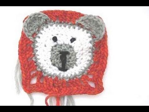 Häkeln Granny Square Teddybär Teil 2 Ohren Gesicht