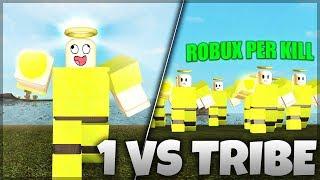 GODLY PLAYER VS TRIBE! *1 KILL = 10K ROBUX* | Roblox: Booga Booga