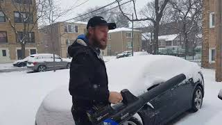 Rapid snow removal from car - 80v Kobalt blower - great use!!!