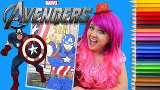 Coloring Captain America Marvel Avengers GIANT Coloring Book Page Colored Pencil | KiMMi THE CLOWN