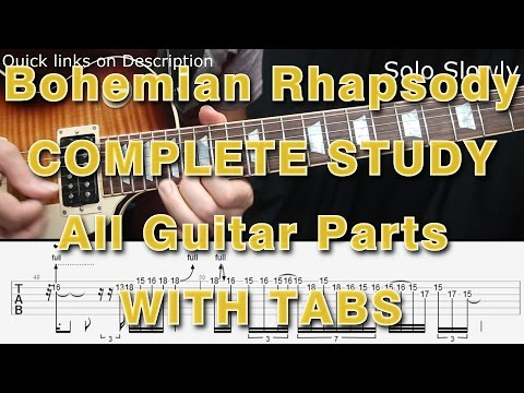 Queen, Bohemian Rhapsody, Guitar Lesson, Tutorial, How to play, Solo, Tab, COMPLETE, Tabs