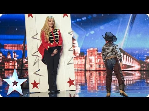 See 11 year old Edward Pinder throw knives at Simon Cowell  Britain's Got Talent 2014