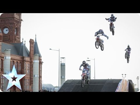 Motorcycle stunt riders jump and flip | BoldDog FMX Team | Britain's Got Talent 2014