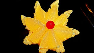Цветок из лимона! Flower of lemon! Украшения из фруктов! Decoration of fruit!