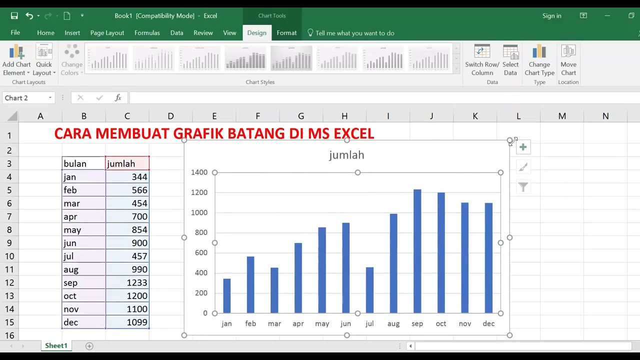 cara membuat grafik batang di ms excel Diagram Batang Aesthetic