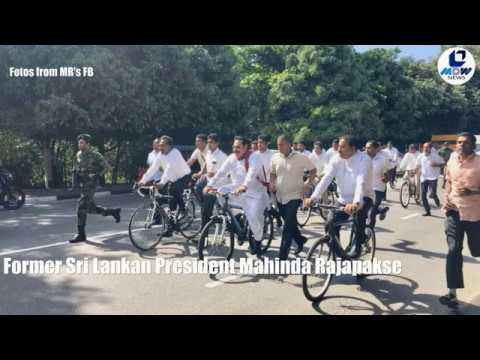 #Mahinda #Rajapakse and his supporters arrive at#Srilankan parliament on bicycles