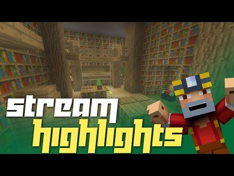 Minecraft Xbox One: Survival Island Livestream Highlights! (Library, Flamingos, and More!)