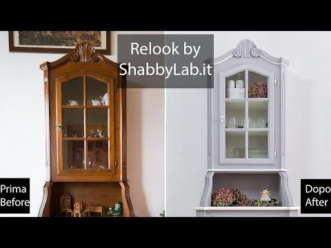 Credenza Con Vetrina Stile Country : Shabby chic relook credenza con vetrina all inglese