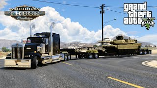 American Truck Simulator Mod in Grand Theft Auto 5 Transporting Abrams Tank Heavy Haul