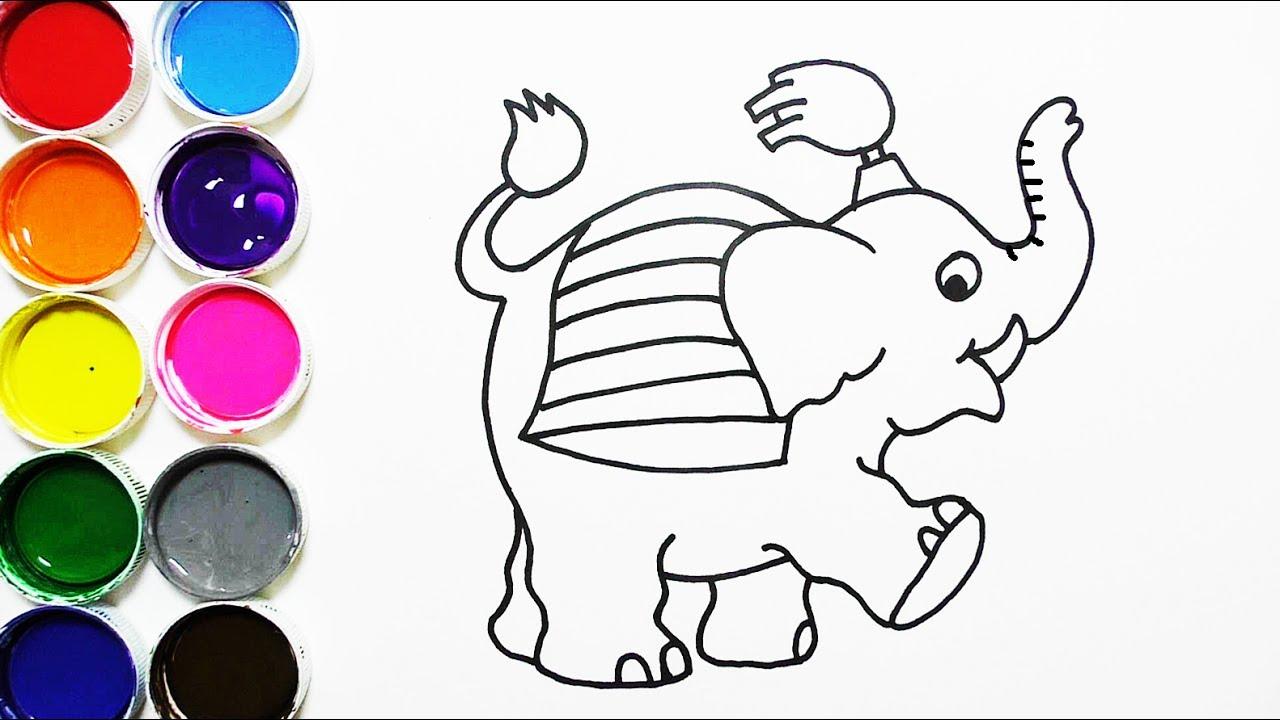 Cómo Dibujar Y Colorear Elefante De Arco Iris Dibujos Para Niños