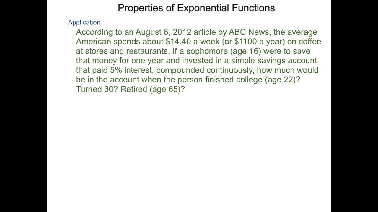 Algebra2 7.2 Properties of Exponential Functions - YouTube