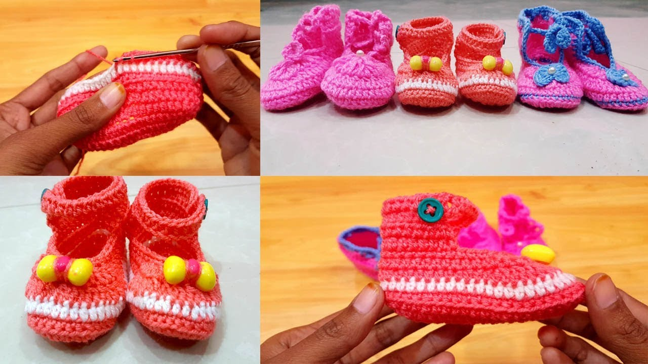 78cb94966373e How I Made Crochet Baby Shoes, Knitting Baby Booties Easy Tutorial