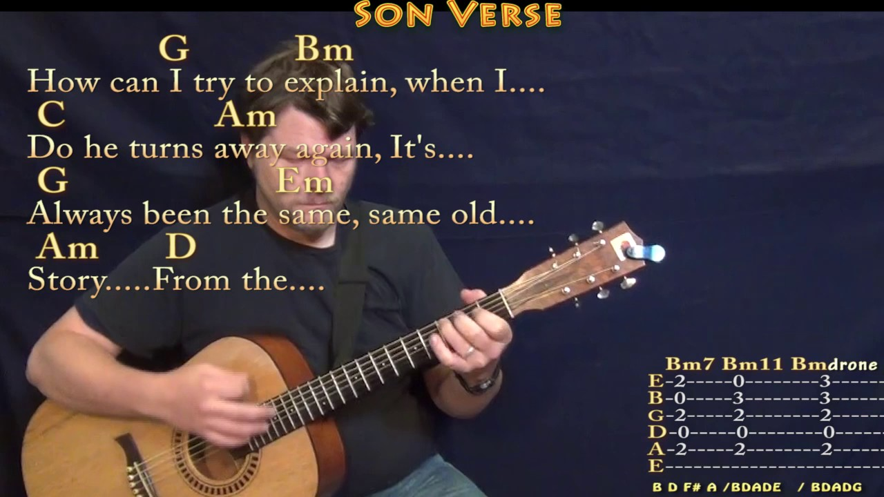 Father and Son Cat Stevens Guitar Lesson Chord Chart with Chords/Lyrics