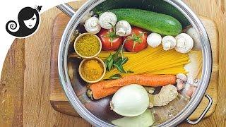 One Pot Pasta - Curry Vegetable Spaghetti  VeganVegetarian Recipe