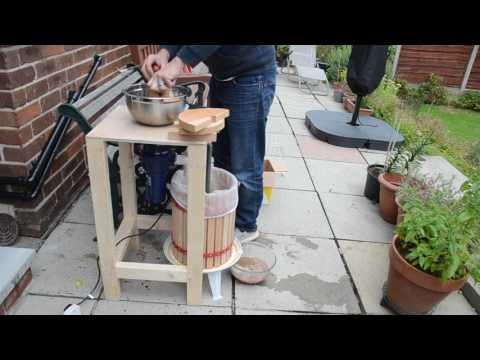 Apple Cider making - grinding using garbage disposal unit and pressing using old style press
