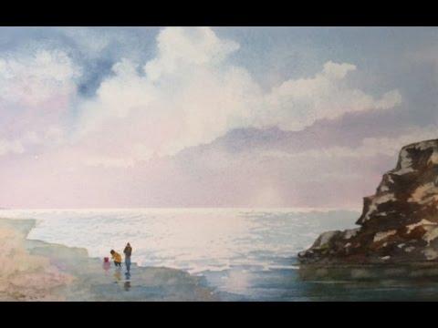 Облачное небо, легко и простой морской пейзаж.Cloudy Seascape