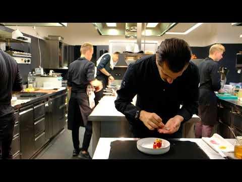 3 Michelin star chef Andreas Caminada prepares a char course at restaurant Schauenstein. Filmed 4K