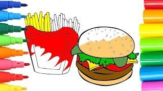 🎨 DIBUJA Y COLOREA 🎨 Aprende los colores dibujando y coloreando una Hamburguesa con Patatas