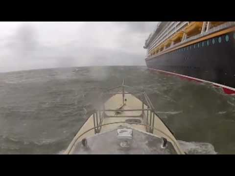 Harbor Pilot Boarding Disney Fantasy in 40 Kts of wind on what was the best lee side to be had