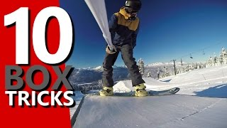 10 Snowboard Tricks to Learn on a Box(In this video I'm going to show you 10 snowboard tricks you can learn on a beginner box in the terrain park. A beginner box is a great place to learn some basic ..., 2016-01-04T19:27:24.000Z)
