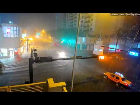 (Major Flooding) HD Webcam: South Beach, Miami Beach. Florida USA.  Collins Ave