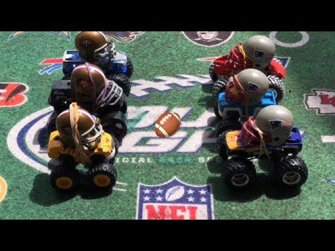 """MONSTER TRUCK FOOTBALL PLAYOFF GAME """"49ers VS PATRIOTS"""""""