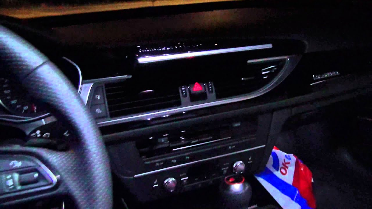 The Audi Rs6 Interior Looks Great At Night With It S White Led Lights Youtube