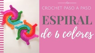 ESPIRAL DE 6 COLORES EN CROCHET - Paso a Paso por mamaQuilla
