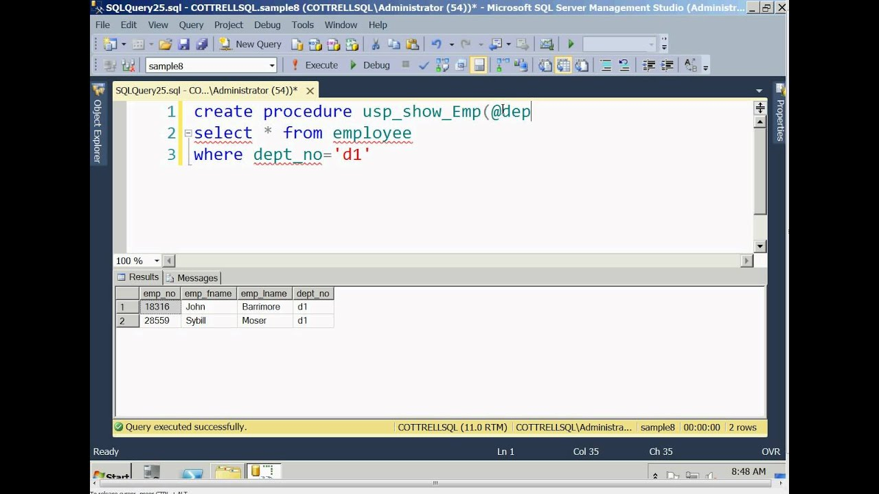 how to make a search procedure sql server