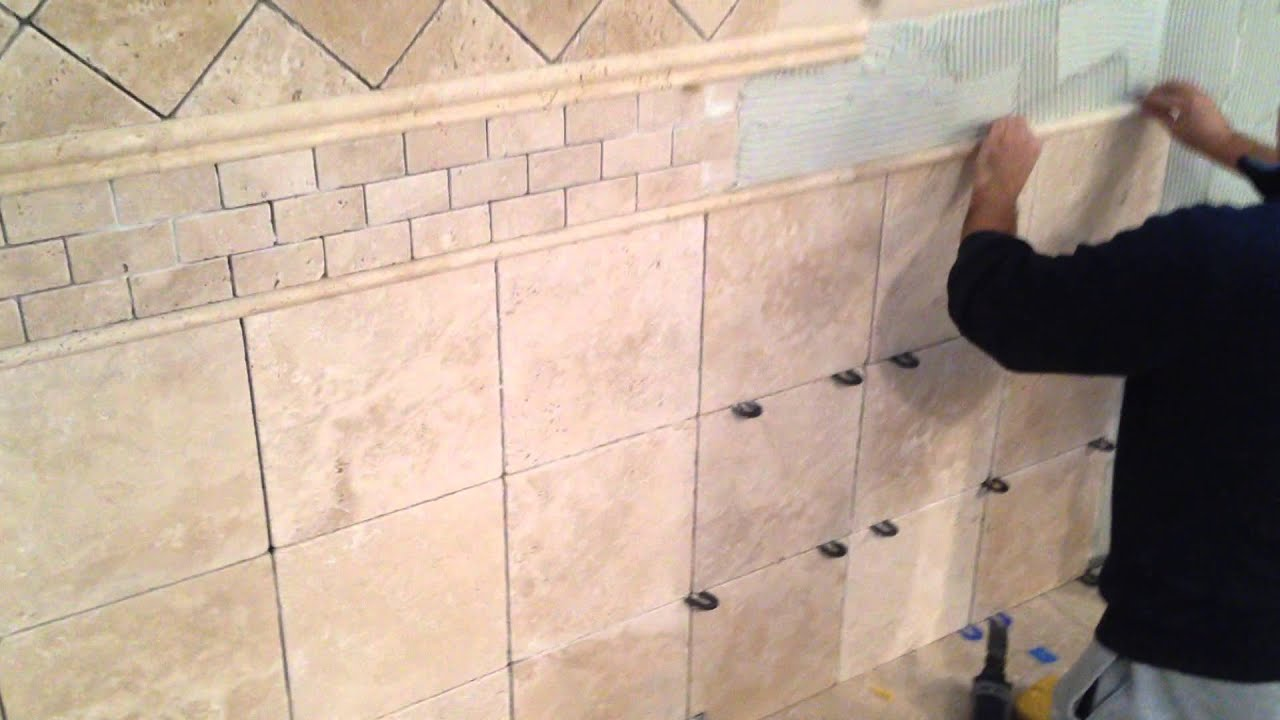 How to install travertine tile on bathroom walls youtube How to put tile on wall in the kitchen
