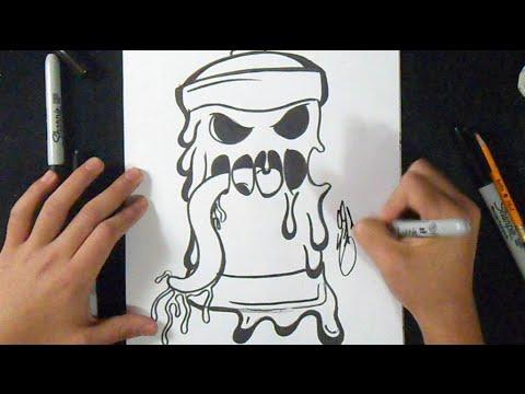 Cmo dibujar Lata de spray Derretida Fcil Graffiti  YouTube