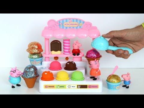 Plastilina Play Doh haciendo Helados con brillo y Lucecitas para la Familia de Peppa Pig! TotoyKids