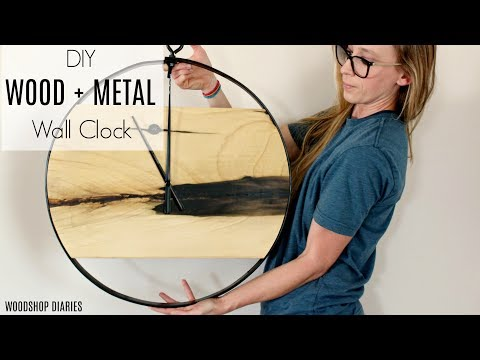 DIY Modern Industrial Wood + Metal Wall Clock