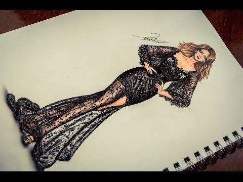06222bf65 how to draw & design fashion - تعليم رسم فستان سهرة شفاف مع مسابقة رسم  صورتك - YouTube