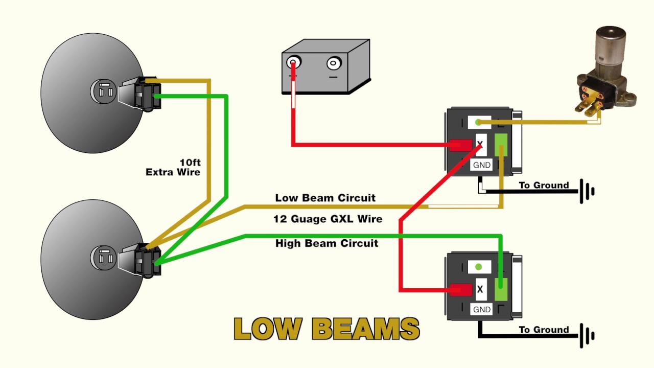 How to wire headlight relays - YouTube Odl Blinking F Wiring Diagram on