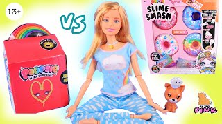 МАКДОНАЛДС ИЛИ ПОНЧИКИ - ЗАВТРАК СЛАЙМ ЧЕЛЛЕНДЖ с Barbie Self Care Doll - обзор  Asmr Slime
