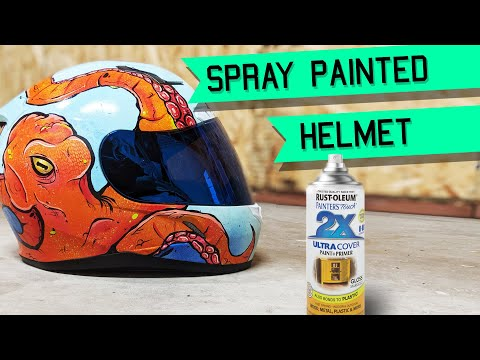 How I Spray Paint A Motorcycle Helmet || Octopus Painting