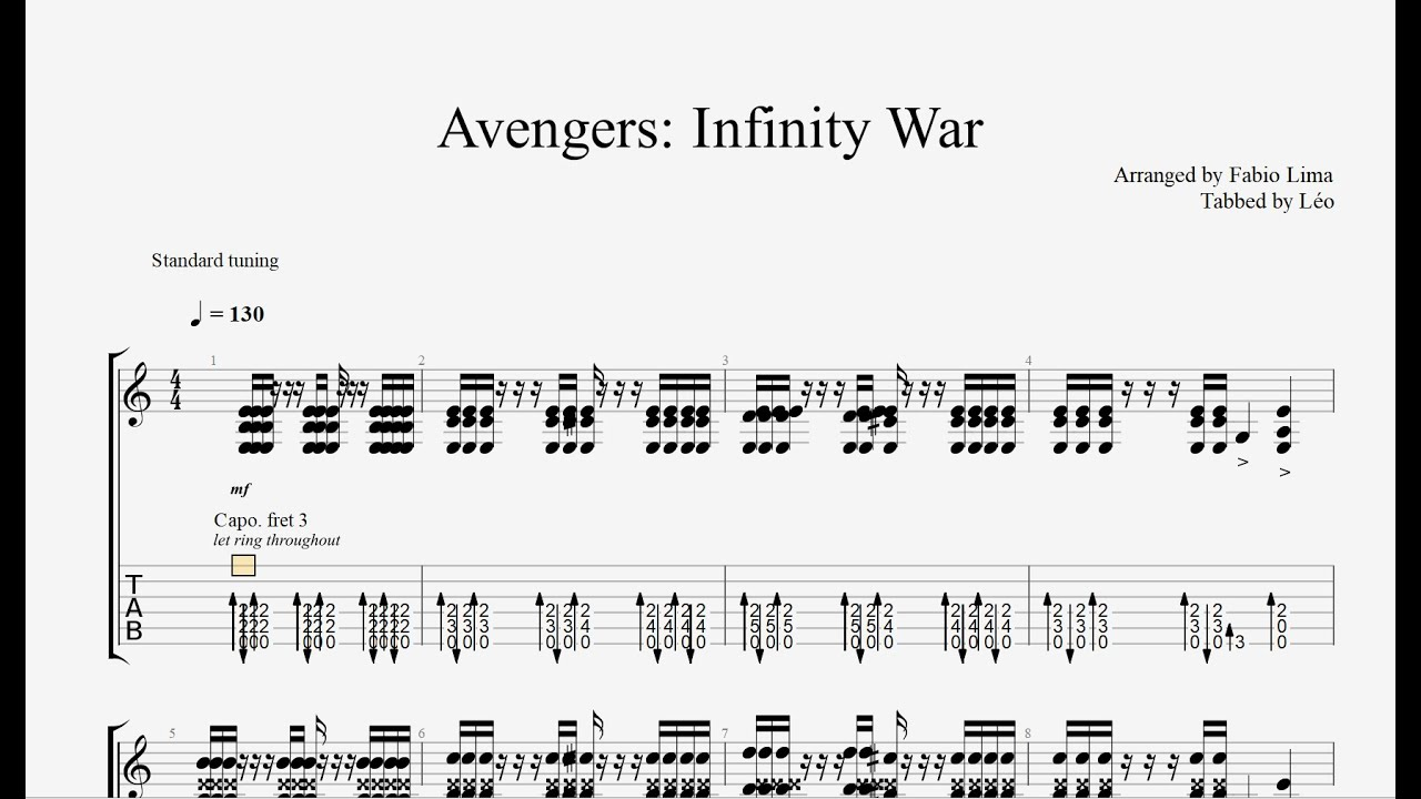Avengers Infinity War - Arranged by Fabio Lima (Tab)