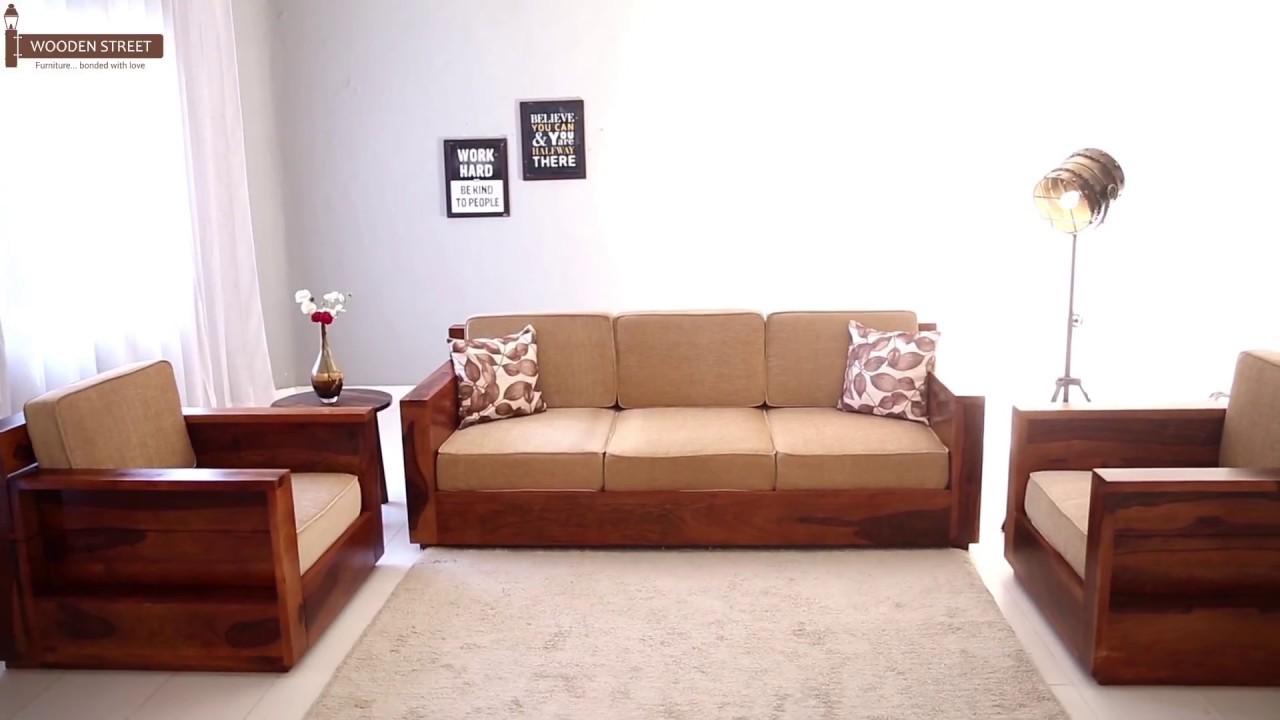 Wooden Sofa Set : Buy Marriott Wooden Sofa Set In Honey