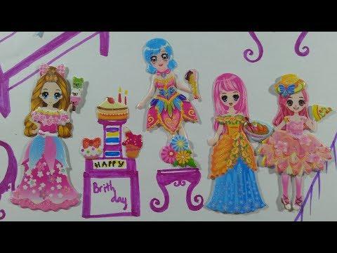 Sticker nhà tạo mẫu/Dán hình trang phục công chúa đi sinh nhật/Vẽ SINH NHẬT STICKER