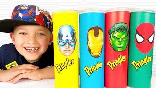 프링글스 먹으면 슈퍼히어로 춤춰요Mark Pretend Play with Magic Superhero Chips Food Toys Transforms into Superheroes
