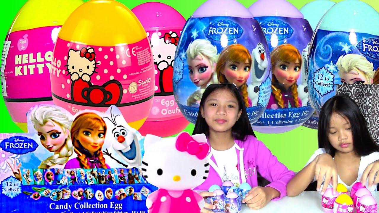 Disney Frozen Hello Kitty Surprise Eggs Surprise Egg Game Kids