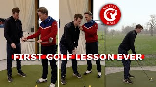 First GOLF LESSON ever! - This guy NEVER hit a golf ball in his life!