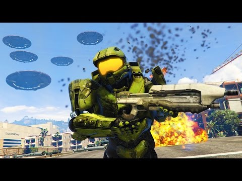GTA 5 Mods - HALO MASTER CHIEF vs ALIENS MOD!! GTA 5 Halo Mo