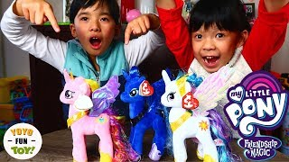My Little Pony Plush Doll Princess Cadance Celestia and Luna TY Beanie Sparkle Toy Review