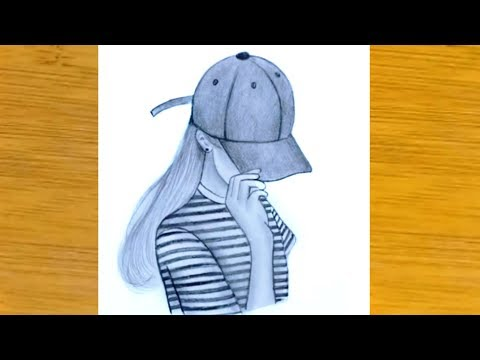 how-to-draw-a-girl-with-hat-for-beginners---easy-step-by-step-  -pencil-sketch
