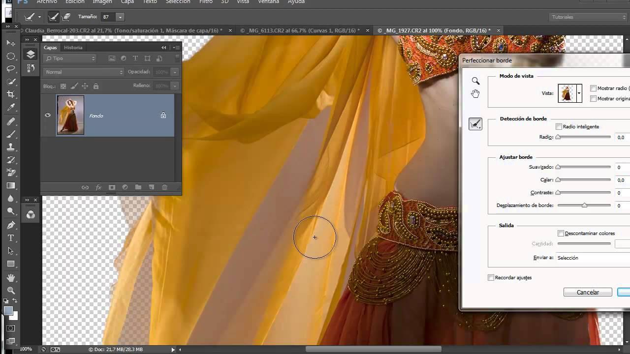 04 Curso selecciones y mascaras  perfeccionamiento de borde con Photoshop