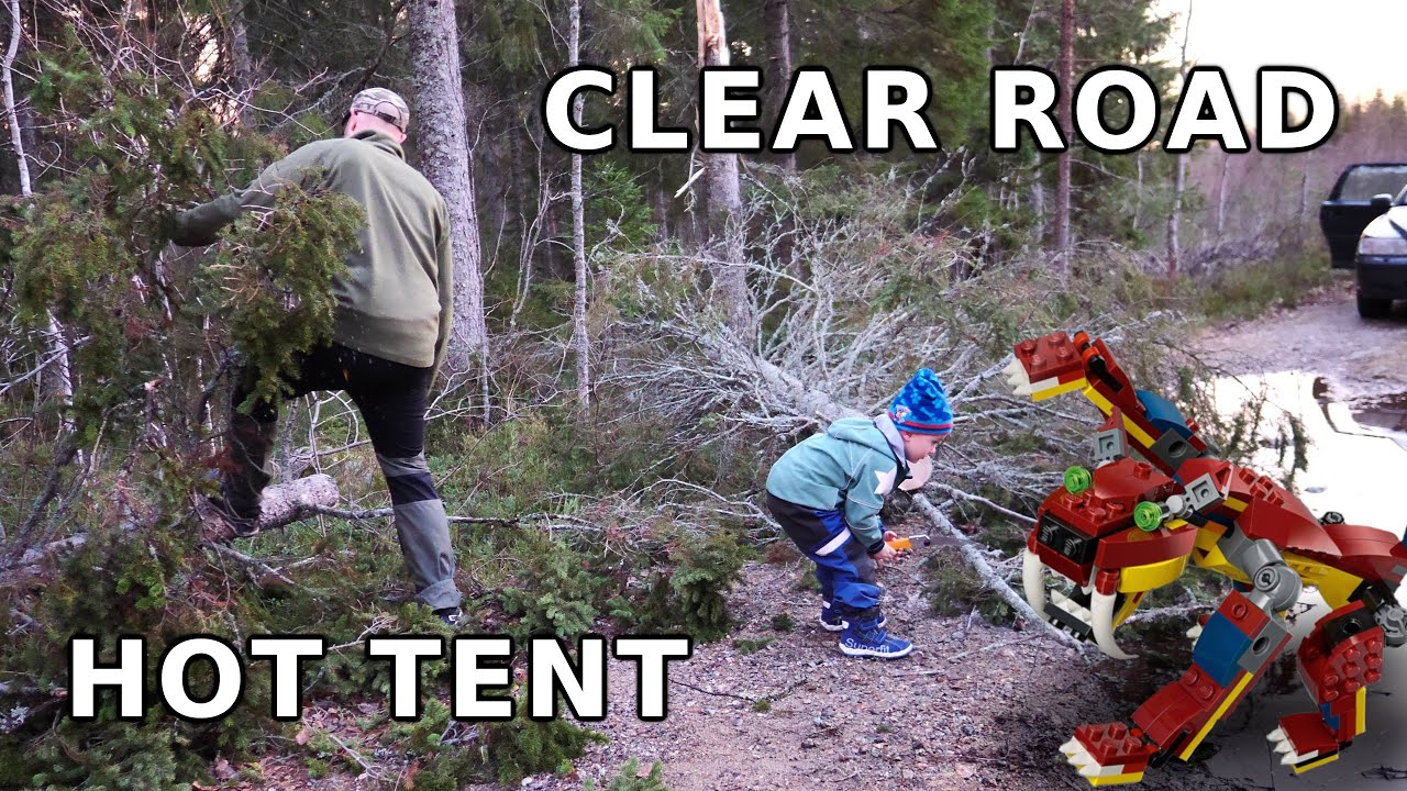 Clear road from fallen tree and set up hot tent with my son