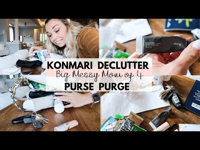 KONMARI Purse Declutter | What's in my Mom of 4 Big Messy Purse