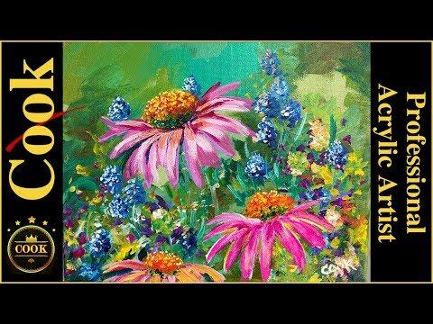 Paint the Wild in Wonderful Wonderland of Wildflowers a Beginner Acrylic Painting  Tutorial